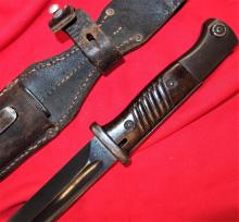 German 84/98 Pattern Mauser Bayonet, with Scabbard & Leather Frog