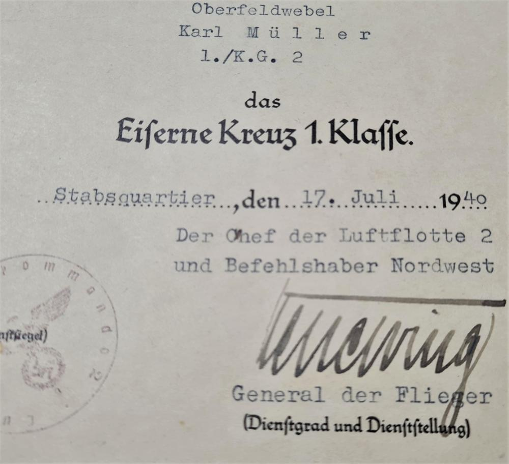 WW2 Germany Iron Cross 1st & 2nd Class, with award documents to Luftwaffe Oberfeldwebel Karl Müller, who earned both crosses serving in Kampfgeschwader 2, the famed bomber wing that saw heavy action in Poland, France and the Battle of Britain