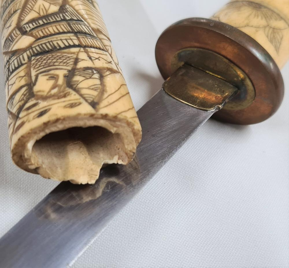 1890's Japanese carved bone tanto knife