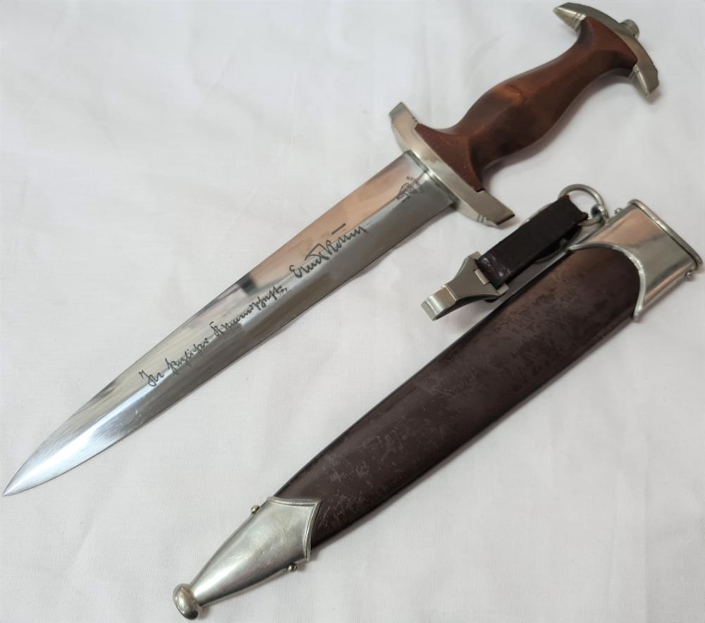 WW2 German full Ernst Rohm inscribed S.A. 1933 1st pattern dagger by SMF Solingen