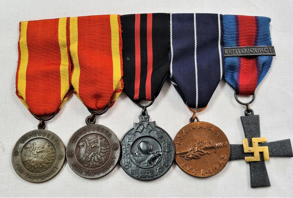 WW2 Finland Continuation War medal group of 5 to the Finish Air Force