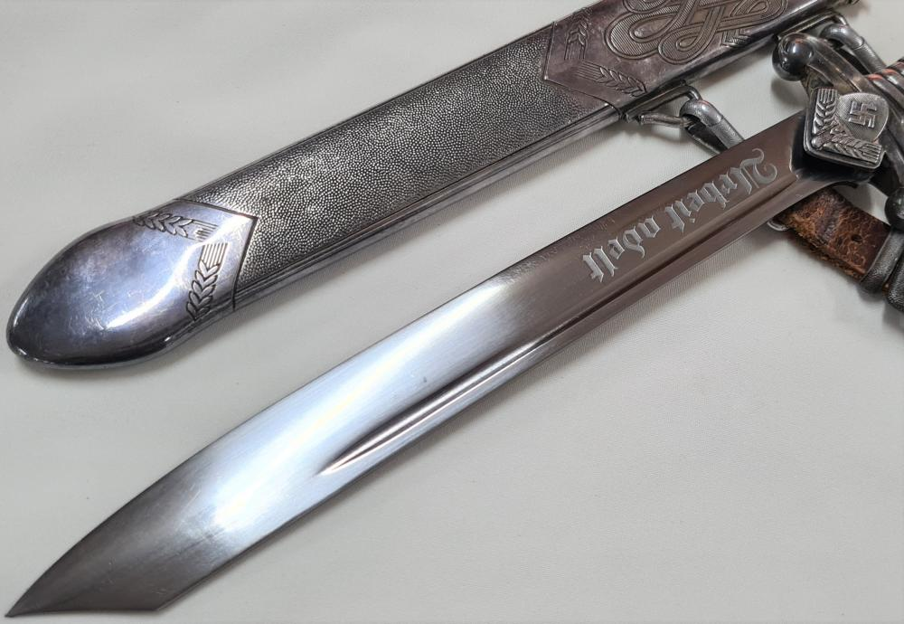 WW2 German R.A.D. leaders' hewer/dagger and scabbard with hanger by Carl Eickhorn of Solingen