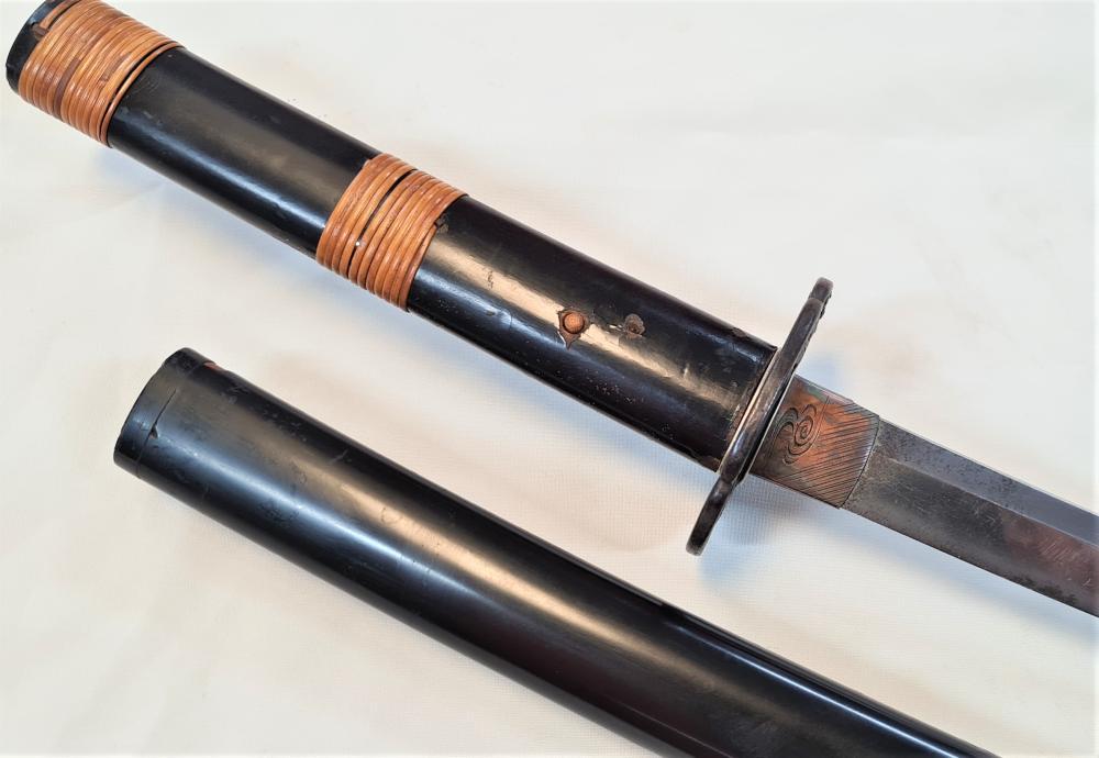 1700's Japanese sword mid Edo period katana with gilt Sansui tsuba