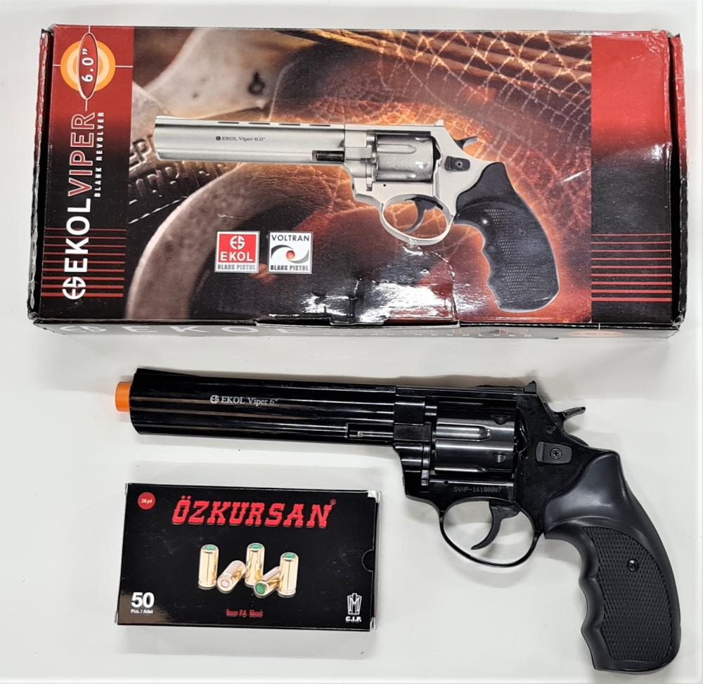 """2000's blank firing Viper 6"""" revolver 6 shot pistol by Ekol with box of 30 rounds"""