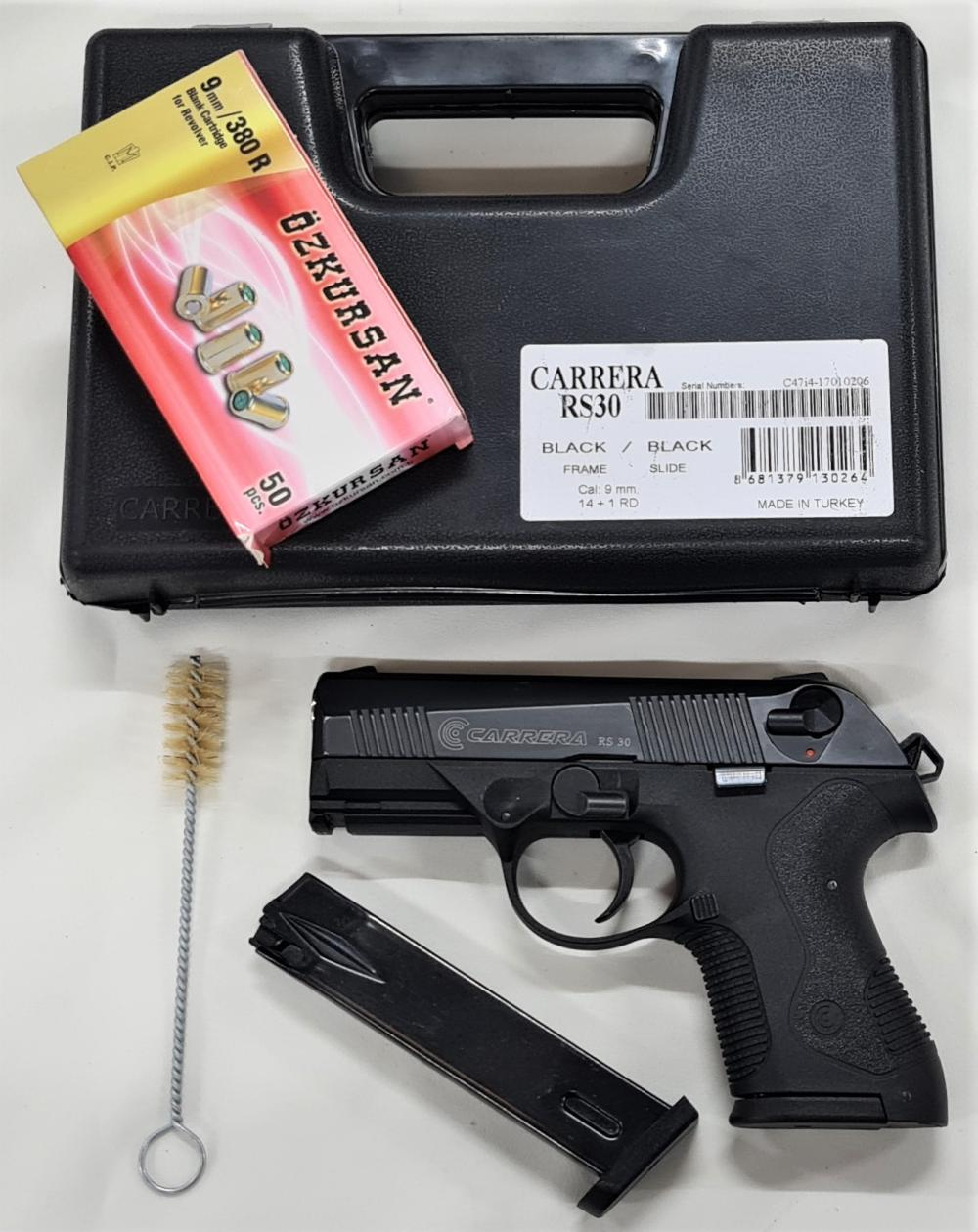 2000's blank firing carrera RS 30 9mm pistol with box of 44 blank rounds