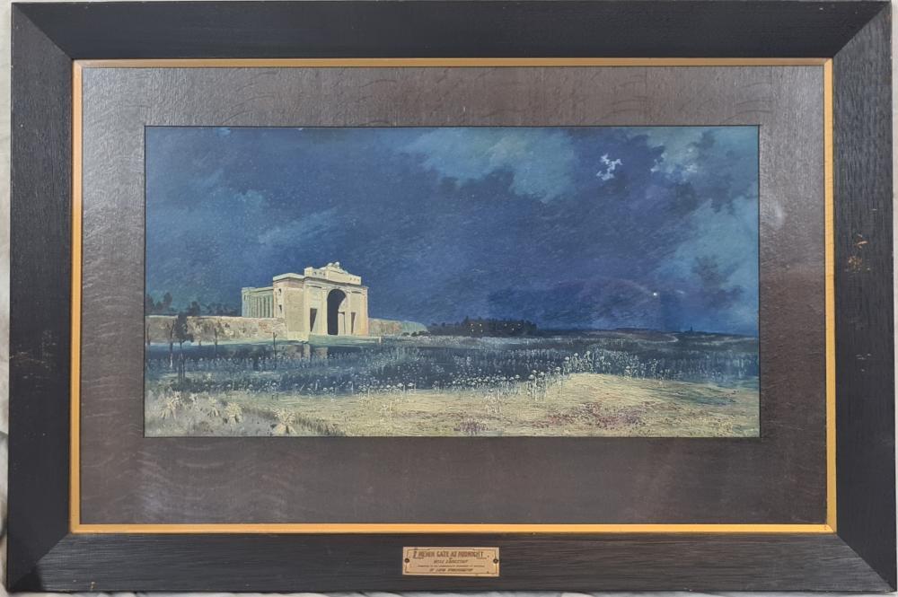 WW1 Australian First World War Menin Gate at Midnight & The Immortal Shrine framed prints by Will Longstaff (2)