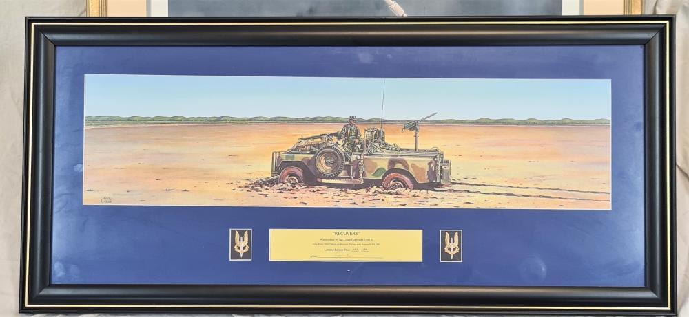 Australian SASR framed prints (1) and Iraq War signed print (1)