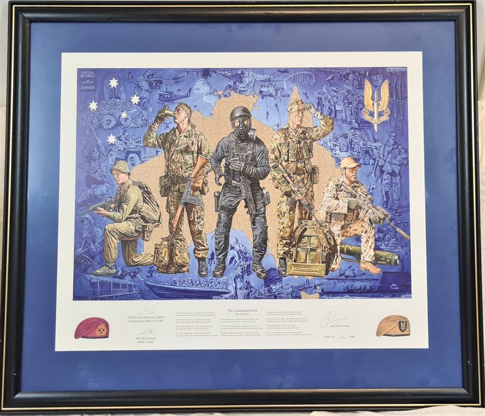 Australian SASR by Ian Coate glass framed print