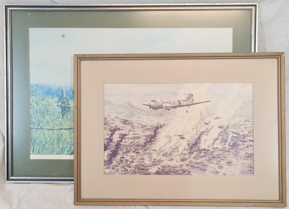 Rhodesian classic Fire Force glass framed prints (2)