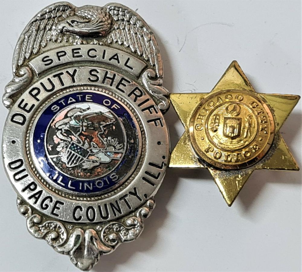 1950's lot of 2 US Police badges, including Deputy Sheriff Du Page County & Chicago police uniform cap badges