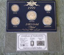 1999 24k Gold Plated Coin Set & .999 2014 1 gram