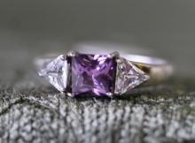 Amethyst / sterling silver ring.