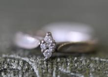 Diamond / sterling silver engagement ring.