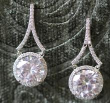Large simulated diamond halo earrings. Sterling si