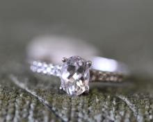 Simulated diamond /sterling silver engagement ring