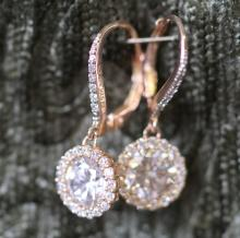 Sterling silver / CZ halo earrings