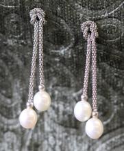 Pearl / sterling silver drop earrings