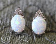 Opal / sterling silver earrings