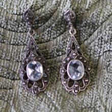 Sterling silver / blue topaz / marcasite earrings