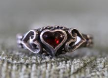 Sterling silver /garnet ring.