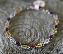 Multi-gemstone  / sterling silver tennis bracelet