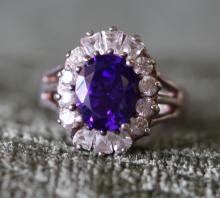 Amethyst / sterling silver ring. Simulated diamond