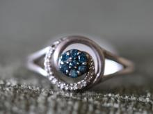 Blue diamond Open Hearts ring