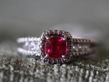 Ruby / sterling silver ring.
