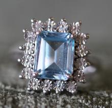 Blue topaz / sterling silver ring