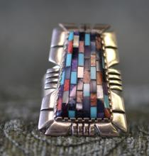 Sterling silver, inlaid stone ring.