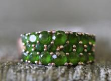 Sterling silver , green stone ring.