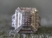 Sterling silver / marcasite cluster ring.