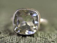 Green amethyst / sterling silver ring