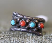 Turquoise / coral sterling ring