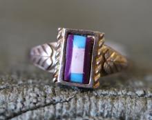 Purple stone sterling ring.