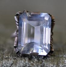 Antique style mounting. Simulated blue topaz ring.