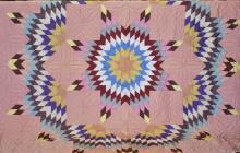 1930's Hand Sewn Taffeta Star Pattern Quilt