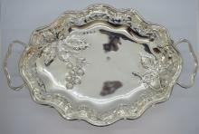English Silver Serving Plate w/ Raspberry Design