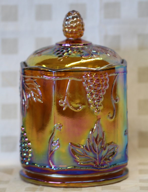 vintage carnival glass candy jar w lid. Black Bedroom Furniture Sets. Home Design Ideas