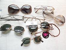 8 pairs vintage eye glasses & sun glasses