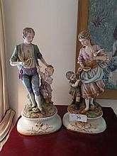 Pair hand painted vintage figurines