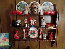 MID CENTURY ALERT- wall shelf full of goodies