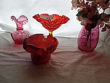4 items cranberry glass +