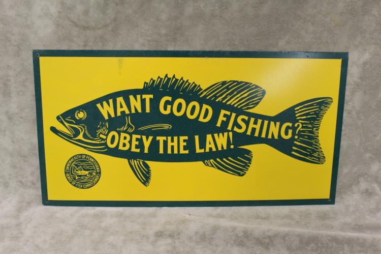 Tin vintage obey fishing laws pennsylvania sign for Pa fishing seasons and limits 2017