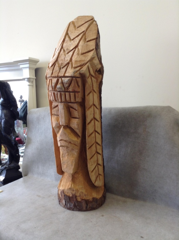 Quot chainsaw carved native american chief statue