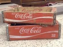 Lot of 2 Vintage Wooden Coca Cola Coke Crates