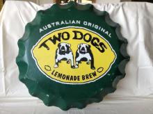 Vintage Australian Two Dogs Brew Bottle Cap Sign