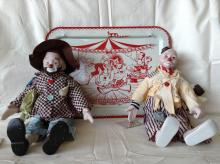 Vintage Child's Circus TV Dinner Tray & 2 Clowns