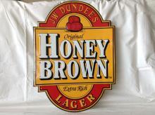 Vintage Embossed J.W Dundee Honey Brown Lager Sign