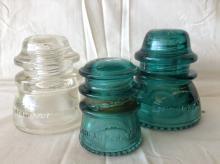Lot of 3 Vintage Glass Insulators